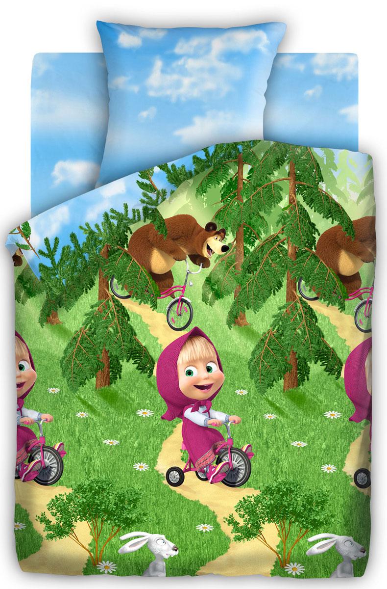 Маша и Медведь Комплект детского постельного белья Велогонка 1,5-спальный284777Постельное белье Маша и Медведь Велогонка выполнено из высококачественного хлопка. Комплект состоит из пододеяльника, простыни и наволочки. Предметы набора оформлены рисунком в виде героев мультсериала Маша и Медведь.Изделия из хлопка обладают превосходными качествами, так как они отлично пропускают воздух, хорошо впитывают влагу - соответственно контролируют температуру тела, приятны на ощупь и комфортны, а главное полезны для здоровья.