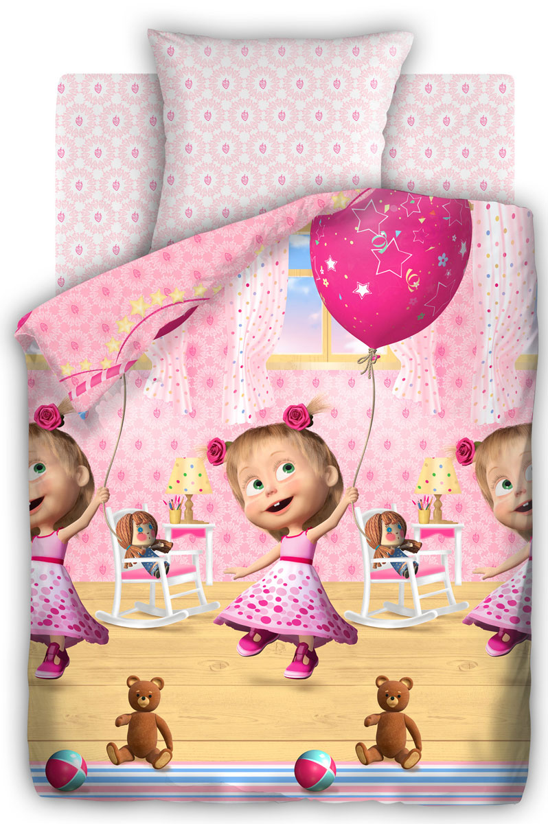Маша и Медведь Комплект детского постельного белья День рождения 1,5-спальный314912Постельное белье Маша и Медведь День рождения выполнено из высококачественного хлопка. Комплект состоит из пододеяльника, простыни и наволочки. Предметы набора оформлены рисунком в виде Маши в праздничном платье.Изделия из хлопка обладают превосходными качествами, так как они отлично пропускают воздух, хорошо впитывают влагу - соответственно контролируют температуру тела, приятны на ощупь и комфортны, а главное полезны для здоровья.