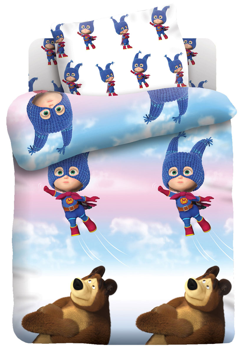 Маша и Медведь Комплект детского постельного белья Маша супергерой