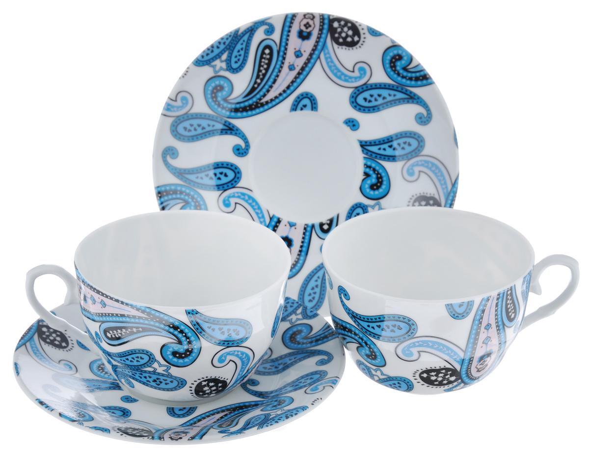 Набор чайный LarangE Пейсли, 4 предмета586-322Чайный набор LarangE Пейсли состоит из 2 чашек и 2 блюдец. Изделия, выполненные извысококачественного фарфора, имеют элегантныйдизайн и классическую круглую форму.Такой набор прекрасно подойдет как для повседневного использования, так и дляпраздников. Чайный набор LarangE Пейсли - это не только яркий и полезный подарок для родных иблизких, это также великолепное дизайнерское решение для вашей кухни илистоловой. Объем чашки: 225 мл. Диаметр чашки (по верхнему краю): 9,5 см. Высота чашки: 6,5 см.Диаметр блюдца (по верхнему краю): 15 см.Высота блюдца: 1,5 см.
