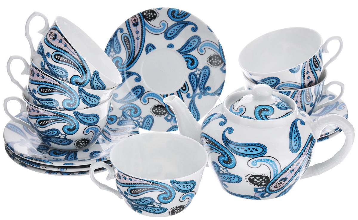 Набор чайный LarangE Пейсли, 14 предметов586-338Чайный набор LarangE Пейсли состоит из 6 чашек, 6 блюдец, чайника и подставки. Изделия выполнены из высококачественного фарфора и украшены ярким рисунком.Изящный чайный набор прекрасно оформит стол к чаепитию и станет замечательным подарком для любой хозяйки. Все изделия удобно располагаются на металлической подставке. Можно использовать в микроволновой печи. Объем чашки: 225 мл. Диаметр чашки (по верхнему краю): 9,5 см. Высота чашки: 6,2 см. Диаметр блюдца (по верхнему краю): 15 см. Высота блюдца: 2 см.Объем чайника: 600 мл. Высота чайника (без учета крышки): 9,5 см. Диаметр чайника (по верхнему краю): 7,2 см. Размер подставки: 17 см х 20 см 30 см.
