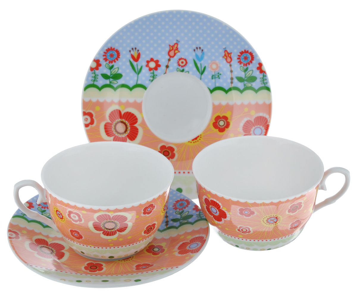 Набор чайный LarangE Фьюжн, 4 предмета586-325Чайный набор LarangE Фьюжн состоит из 2 чашек и 2 блюдец. Изделия, выполненные извысококачественного фарфора, имеют элегантныйдизайн и классическую круглую форму.Такой набор прекрасно подойдет как для повседневного использования, так и дляпраздников. Чайный набор LarangE Фьюжн - это не только яркий и полезный подарок для родных иблизких, это также великолепное дизайнерское решение для вашей кухни илистоловой. Объем чашки: 225 мл. Диаметр чашки (по верхнему краю): 9,5 см. Высота чашки: 6,5 см.Диаметр блюдца (по верхнему краю): 15 см.Высота блюдца: 1,5 см.