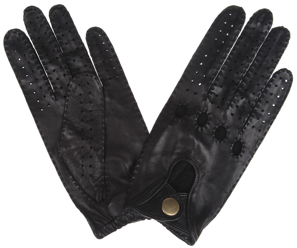 Перчатки автомобильные Dali Exclusive, цвет: черный. ALG1/BL. Размер 9,5ALG1/BLСтильные автомобильные перчатки Fabretti позволяют сделать управление автомобилем максимально комфортным и безопасным. Изготовлены перчатки из эфиопской натуральной кожи ягненка и дополнены с внешней стороны хлястиком на кнопке. Летом в перчатках комфортно благодаря специальным вентиляционным отверстиям и перфорации, зимой - холодный руль больше не доставит неудобств.