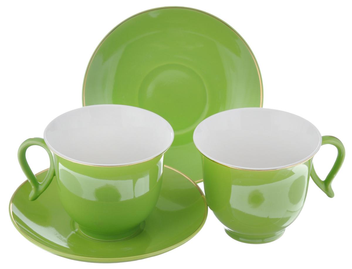 Набор чайный Loraine, цвет: зеленый, белый, 4 предмета. 2474824748Набор Loraine выполнен из высококачественного фарфора. Изящный дизайн и красочность оформления придутся по вкусу и ценителям классики, и тем, кто предпочитает утонченность и изысканность. Чайный набор - идеальный и необходимый подарок для вашего дома и для ваших друзей в праздники, юбилеи и торжества! Он также станет отличным корпоративным подарком и украшением любой кухни. Чайный набор упакован в подарочную коробку из плотного цветного картона. Внутренняя часть коробки задрапирована белым атласом. Объем чашки: 220 мл. Диаметр чашки (по верхнему краю): 9,5 см. Высота чашки: 7,5 см.Диаметр блюдца: 14 см. Высота блюдца: 2,5 см.