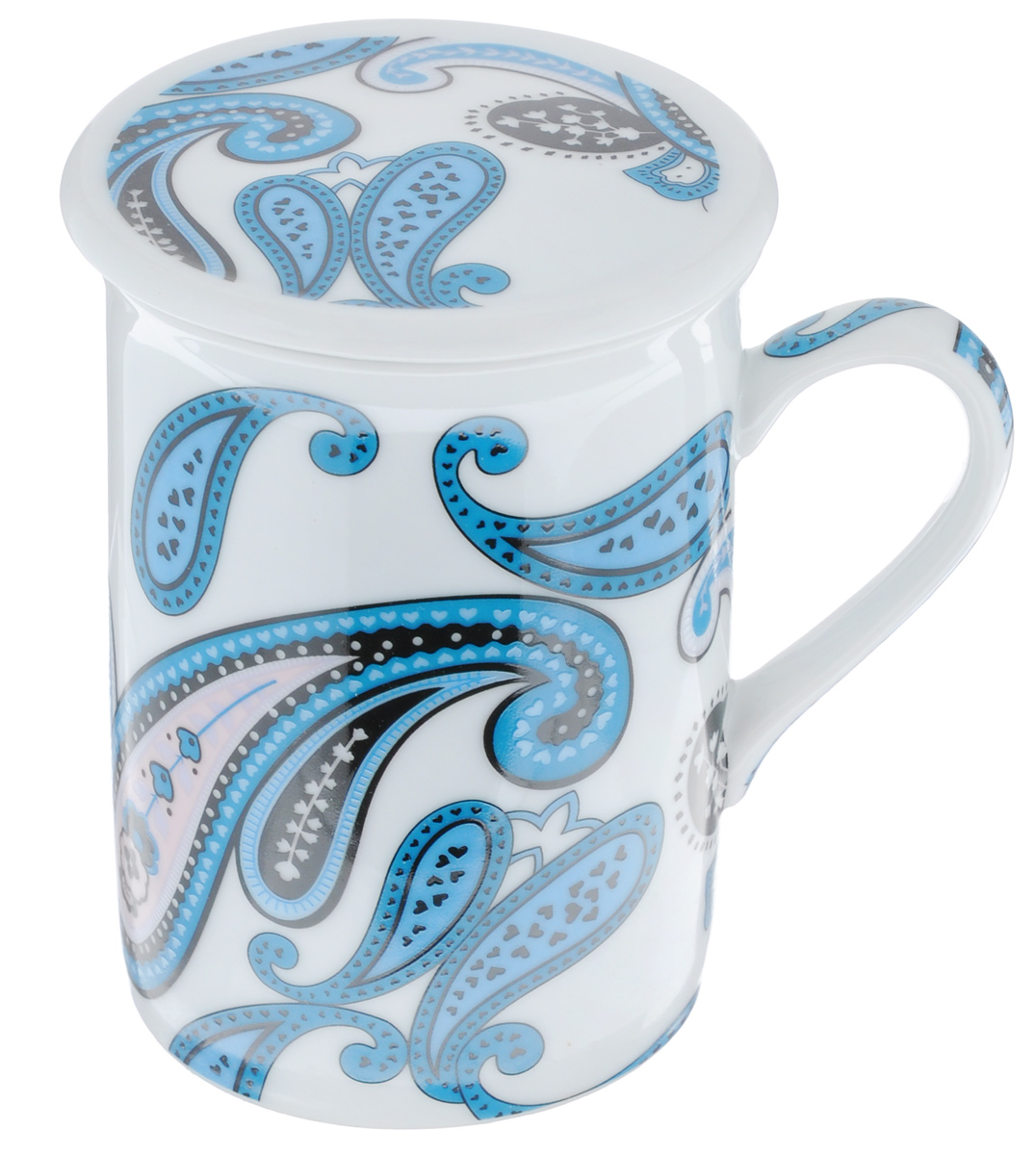 """Заварочная кружка LarangE """"Пейсли"""" изготовлена из высококачественного фарфора.Внешние стенки оформлены ярким рисунком. Изделие оснащено съемнымметаллическим фильтром и фарфоровой крышкой. Заварочная кружка поможет быстро и вкусно заварить чай на одну порцию, не используязаварочный чайник.  Такой набор станет хорошим подарком, а также придаст кухонному интерьеруособый колорит.Объем кружки: 330 мл. Диаметр кружки (по верхнему краю): 7,5 см.Высота стенки кружки: 10 см.Глубина ситечка: 5 см.Не рекомендуется применять абразивные моющие средства."""