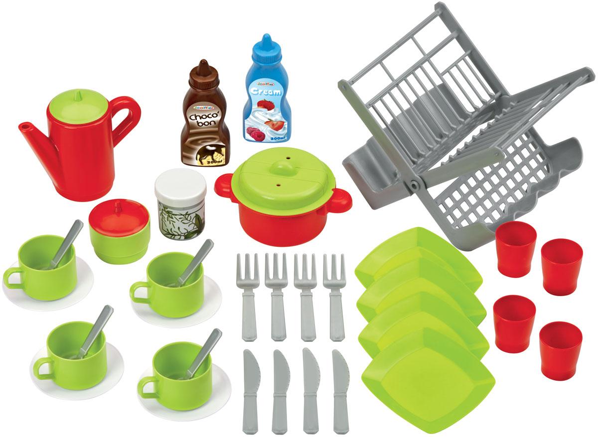 Ecoiffier Игровой набор Сушилка для посуды цвет салатовый красный écoiffier тележка для уборки с пылесосом ecoiffier