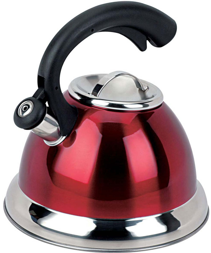 Чайник Bekker Premium со свистком, цвет: красный, черный, 3,2 л. BK-S412BK-S412_красныйЧайник Bekker Premium изготовлен из высококачественной нержавеющей стали 18/10 с цветным матовым покрытием. Капсулированное дно распределяет тепло по всей поверхности, что позволяет чайнику быстро закипать. Крышка на носик и эргономичная фиксированная ручка выполнены из бакелита черного цвета. Носик оснащен откидным свистком, который подскажет, когда закипела вода. Свисток открывается и закрывается нажатием кнопки на рукоятке. Подходит для всех типов плит, включая индукционные. Можно мыть в посудомоечной машине.Диаметр (по верхнему краю): 10 см. Диаметр основания: 22 см. Высота чайника (без учета ручки): 13,5 см. Высота чайника (с учетом ручки): 24 см.
