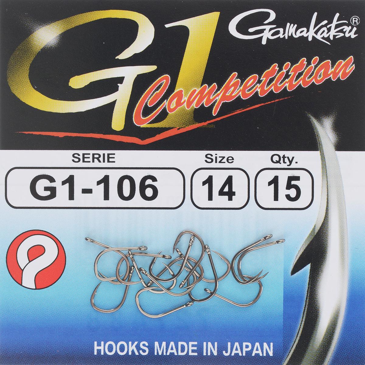 Набор крючков Gamakatsu G-1 Competition, размер №14, 15 шт23413Gamakatsu G-1 Competition - это крючки, прекрасно подходящие для ловли на волосяную оснастку в условиях соревнований. Изделия выполнены из тяжелой проволоки.