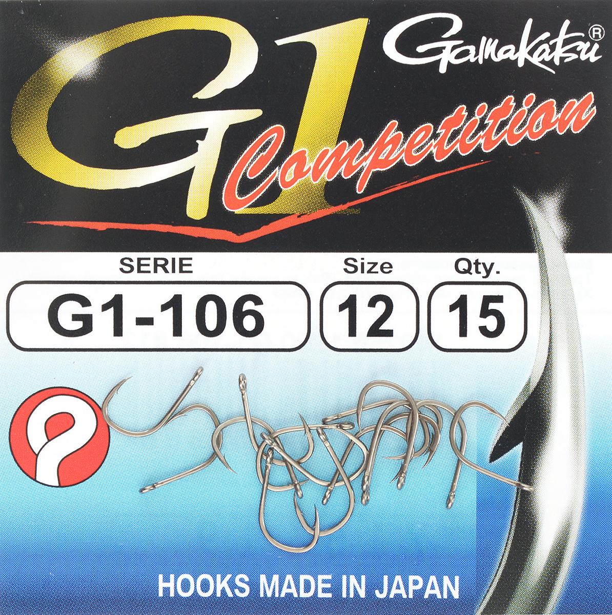 Набор крючков Gamakatsu G-1 Competition, размер №12, 15 шт23412Gamakatsu G-1 Competition - это крючки, прекрасно подходящие для ловли на волосяную оснастку в условиях соревнований. Изделия выполнены из тяжелой проволоки.