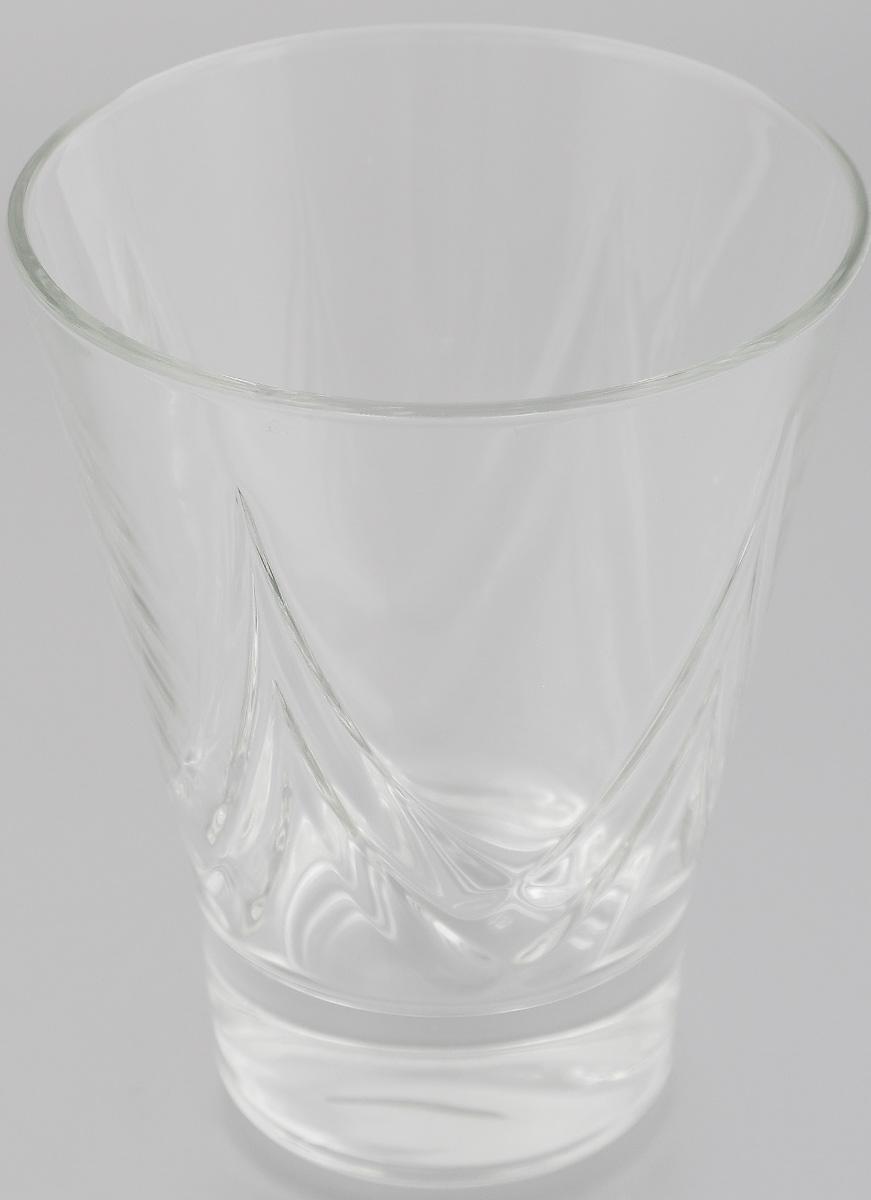 """Стакан OSZ """"Bell Призма"""" изготовлен из бесцветного стекла и украшен рельефными гранями. Идеально подходит для сервировки стола. Стакан не только украсит ваш кухонный стол и подчеркнет прекрасный вкус хозяйки.  Диаметр стакана (по верхнему краю): 9,5 см.  Диаметр основания: 5,5 см.  Высота стакана: 11,5 см."""