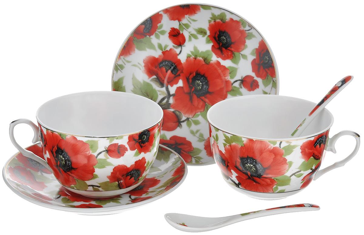 Набор чайный Elan Gallery Маки, 6 предметов730478Чайный набор Elan Gallery Маки состоит из 2 чашек, 2 блюдец и 2 ложек. Изделия,выполненные из высококачественной керамики, имеют элегантный дизайн и классическую круглую форму. Такой набор прекрасно подойдет как для повседневного использования, так и для праздников.Чайный набор Elan Gallery Маки - это не только яркий и полезный подарок для родных и близких, это также великолепное дизайнерское решение для вашей кухни или столовой.Объем чашки: 250 мл.Диаметр чашки (по верхнему краю): 9,5 см.Высота чашки: 6 см. Диаметр блюдца (по верхнему краю): 14 см. Высота блюдца: 2 см. Длина ложки: 13 см.