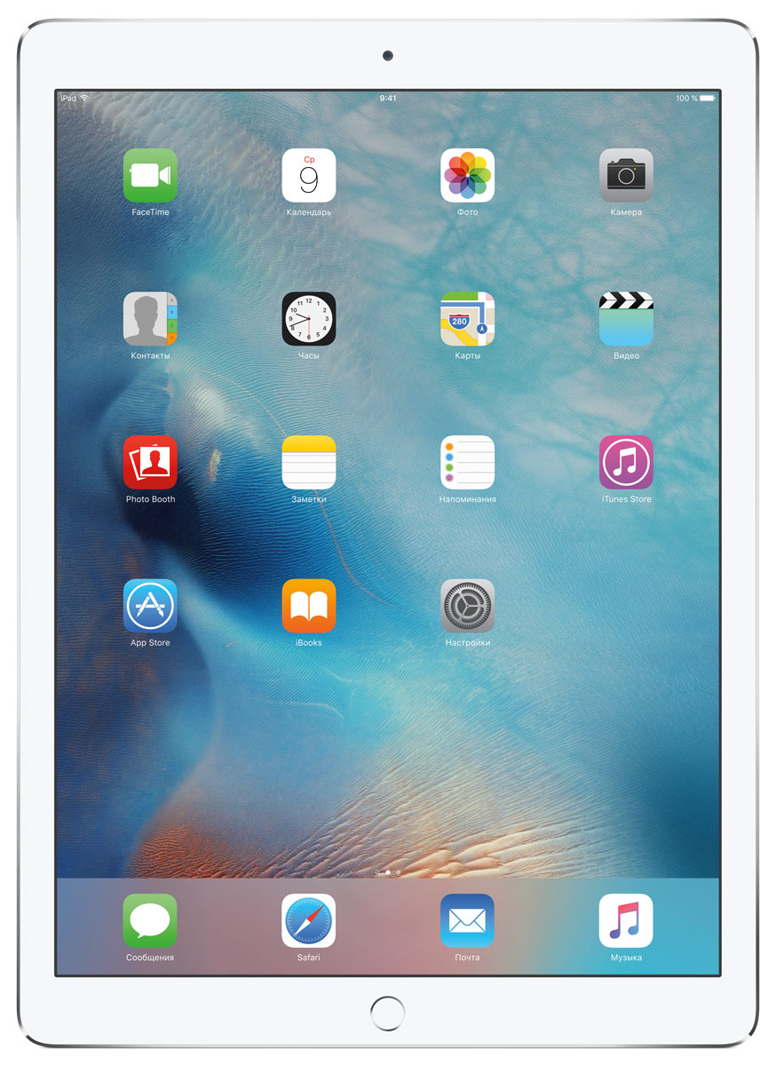 Apple iPad Pro Wi-Fi 32GB, SilverML0G2RU/AС Apple iPad Pro мир ваших увлечений станет ещё обширнее. Это устройство обладает потрясающим 12,9-дюймовым дисплеем Retina и улучшенной технологией Multi-Touch, а его производительность почти в два раза выше, чем iPad Air 2. Новый iPad Pro не просто больше - с ним вы получите возможность работать и творить в совершенно иных масштабах.Дисплей Retina с диагональю 12,9 на iPad Pro - самый совершенный из всех. Он на 78% больше, чем у iPad Air 2, а под его стеклом уместились обновлённая подсистема Multi-Touch и самое высокое разрешение среди всех устройств iOS - 5,6 млн пикселей. Его потрясающая чёткость и впечатляющие цвета, включая насыщенный чёрный, делают невероятно увлекательным любое занятие: от обработки фотографий до игр со сложной графикой.В корпус данной модели встроено четыре динамика, которые обеспечивают естественный и объёмный звук. Впервые отсеки для динамиков вырезаны прямо в корпусе unibody. Благодаря новой архитектуре динамики получили на 61% больше места, что расширило диапазон частот и втрое повысило их мощность по сравнению с предыдущими моделями iPad.Динамики в iPad Pro - это не только качественный звук, но и интеллектуальная технология. Все динамики воспроизводят звук низкой частоты, а верхние - ещё и высоких. Кроме того, динамики автоматически распознают вертикальное или горизонтальное положение устройства. Как ни крути, iPad Pro всегда гарантирует живое и сбалансированное звучание.Smart Connector - новый элемент интерфейса, который использует проводящий материал Smart Keyboard для передачи сигнала в обоих направлениях. Он обеспечивает питание клавиатуры Smart Keyboard (продается отдельно) от iPad Pro и передаёт импульс от клавиш обратно на iPad Pro. Пользоваться разъёмом Smart Connector проще простого. Вставьте iPad Pro в Smart Keyboard (так же, как в чехол Smart Cover) и начинайте работать.Производительность процессора A9X в 1,8 раза выше, чем у iPad Air 2, а скорость его работы и отклика просто поражае