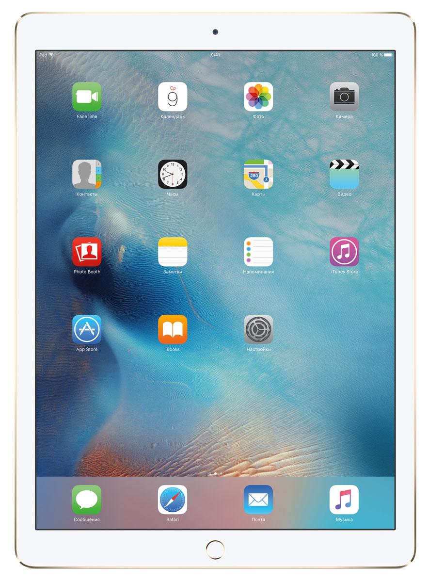 Apple iPad Pro Wi-Fi 32GB, GoldML0H2RU/AС Apple iPad Pro мир ваших увлечений станет ещё обширнее. Он оснащён потрясающим 12,9-дюймовым дисплеем Retina и улучшенной технологией Multi-Touch, а его производительность почти в два раза превосходит iPad Air 2. Новый iPad Pro не просто больше - с ним вы получите возможность работать и творить в совершенно иных масштабах.Дисплей Retina с диагональю 12,9 на iPad Pro - самый совершенный из всех. Он на 78% больше, чем у iPad Air 2, а под его стеклом уместились обновлённая подсистема Multi-Touch и самое высокое разрешение среди всех устройств iOS - 5,6 миллиона пикселей. Его потрясающая чёткость и впечатляющие цвета, включая насыщенный чёрный, делают любое занятие, от обработки фотографий до игр со сложной графикой, невероятно увлекательным.В корпус данной модели встроено четыре передовых динамика, которые обеспечивают живой и объёмный звук. И впервые отсеки для них вырезаны прямо в корпусе unibody. Благодаря новой архитектуре динамики получили на 61% больше места, что расширило диапазон частот и втрое повысило их мощность по сравнению с предыдущими моделями iPad.Динамики в iPad Pro - это не только качественный звук, но и умная технология. Все они воспроизводят звук низких частот, а верхние - ещё и высоких. Кроме того, динамики автоматически распознают вертикальное или горизонтальное положение устройства. Как ни крути, iPad Pro всегда гарантирует живое и сбалансированное звучание.Smart Connector - новый элемент интерфейса, который использует проводящий материал Smart Keyboard для передачи сигнала в обоих направлениях. Он обеспечивает питание клавиатуры Smart Keyboard (продается отдельно) от iPad Pro и передаёт импульс от клавиш обратно на iPad Pro. Пользоваться разъёмом Smart Connector проще простого. Вставьте iPad Pro в Smart Keyboard - так же, как в чехол Smart Cover - и начинайте работать.Производительность процессора A9X в 1,8 раза выше, чем у iPad Air 2, а скорость его работы и отклика просто поражает. iPad Pro реагирует н