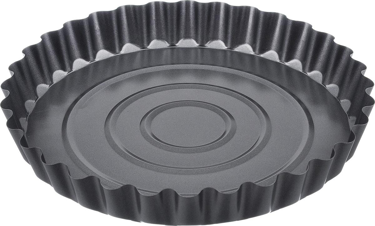 """Круглая форма для выпечки Bekker """"Koch"""" изготовлена из углеродистой стали с антипригарным покрытием Goldflon, благодаря которому выпечка не пригорает и не прилипает к поверхности и легко моется.  Такая форма идеально подходит для приготовления различных пирогов и кексов. Подходит для использования в духовом шкафу. Не рекомендуется мыть в посудомоечной машине.Диаметр (по верхнему краю): 27,7 см. Высота стенок: 4,4 см. Толщина стенки: 0,4 мм."""