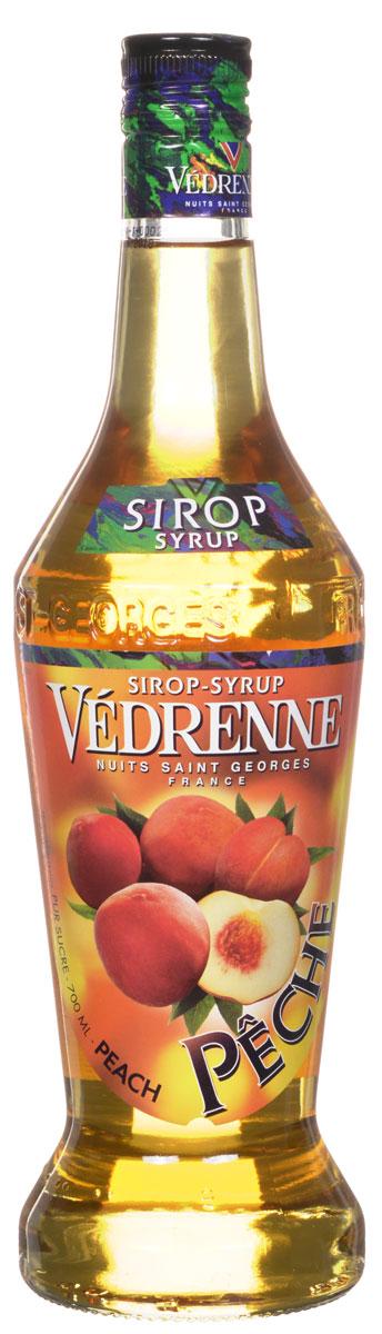 Vedrenne Персик сироп, 0,7 лSVDRPE-070B01Персиковый сироп - производится из отборных плодов персика.Сироп Персик можно добавлять в прохладительные напитки, самые разные коктейли (как алкогольные, так и безалкогольные), холодный чай, лимонад, компот, молоко, мороженое, кофе, десерты.Сиропы изготавливаются на основе натурального растительного сырья, фруктовых и ягодных соков прямого отжима, цитрусовых настоев, а также с использованием очищенной воды без вредных примесей, что позволяет выдержать все ценные и полезные свойства натуральных фруктово-ягодных плодов и трав. В состав сиропов входит только натуральный сахар, произведенный по традиционной технологии из сахарозы. Благодаря высокому содержанию концентрированного фруктового сока, сиропы Vedrenne обладают изысканным ароматоми натуральным вкусом, являются эффективным подсластителем при незначительной калорийности. Они оптимизируют уровень влажности и процесс кристаллизации десертов, хорошо смешиваются с другими ингредиентами и способствуют улучшению вкусовых качеств напитков и десертов.Сиропы Vedrenne разливаются в стеклянные бутылки с яркими этикетками, на которых изображен фрукт, ягода или другой ингредиент, определяющий вкусовые оттенки того или иного продукта Vedrenne. Емкости с сиропами Vedrenne герметичны и поэтому не позволяют содержимому контактировать с микроорганизмами и другими губительными внешними воздействиями. Кроме того, стеклянные бутылки выглядят оригинально и стильно.В настоящее время компания Vedrenne считается одним из лучшихпроизводителей высококлассных сиропов, отличающихся натуральным вкусом, а также насыщенным ароматом и глубоким цветом. Фруктовые сиропы Vedrenne пользуются большой популярностью не только во Франции (где их широко используют как в сегменте HoReCa, так и в домашних условиях), но и экспортируются более чем в 50 стран мира.Цвет: золотисто-медовыйАромат: насыщенный, сочный, сладкийВкус: чувственный, фруктовый, нежный вкус с нотами сочной мякоти персикаРецепт коктейля МатохитоИн