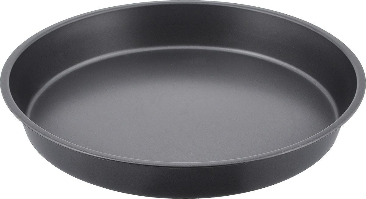 """Круглая форма для выпечки Bekker """"Koch"""" изготовлена из углеродистой стали с антипригарным покрытием Goldflon, благодаря которому выпечка не пригорает и не прилипает к поверхности и легко моется.  Такая форма идеально подходит для приготовления различных пирогов и кексов. Подходит для использования в духовом шкафу. Можно мыть в посудомоечной машине.Диаметр (по верхнему краю): 30,3 см. х 30,3 см. Высота стенок: 4,4 см. Толщина стенки: 0,4 мм."""