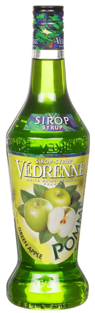 Vedrenne Зеленое Яблоко сироп, 0,7 лSVDRPV-070B01Сироп Зеленое яблоко обладает насыщенным свежим ароматом душистых зеленых яблок. Аппетитная густая консистенция окрашена в ярко-зеленый красивый цвет.Сиропы изготавливаются на основе натурального растительного сырья, фруктовых и ягодных соков прямого отжима, цитрусовых настоев, а также с использованием очищенной воды без вредных примесей, что позволяет выдержать все ценные и полезные свойства натуральных фруктово-ягодных плодов и трав. В состав сиропов входит только натуральный сахар, произведенный по традиционной технологии из сахарозы. Благодаря высокому содержанию концентрированного фруктового сока, сиропы Vedrenne обладают изысканным ароматом и натуральным вкусом, являются эффективным подсластителем при незначительной калорийности. Они оптимизируют уровень влажности и процесс кристаллизации десертов, хорошо смешиваются с другими ингредиентами и способствуют улучшению вкусовых качеств напитков и десертов.Сиропы Vedrenne разливаются в стеклянные бутылки с яркими этикетками, на которых изображен фрукт, ягода или другой ингредиент, определяющий вкусовые оттенки того или иного продукта Vedrenne. Емкости с сиропами Vedrenne герметичны и поэтому не позволяют содержимому контактировать с микроорганизмами и другими губительными внешними воздействиями. Кроме того, стеклянные бутылки выглядят оригинально и стильно.В настоящее время компания Vedrenne считается одним из лучших производителей высококлассных сиропов, отличающихся натуральным вкусом, а также насыщенным ароматом и глубокимцветом. Фруктовые сиропы Vedrenne пользуются большой популярностью не только во Франции (где их широко используют как в сегменте HoReCa, так и в домашних условиях), но и экспортируются более чем в 50 стран мира.Цвет: золотисто-зеленыйАромат: свежий, яркий с тонами зрелого зеленого яблокаВкус: сильный, сладкий, гармоничный вкус с приятной яблочной кислинкой и нежным послевкусиемРецепт коктейля Зеленая ЭнергияИнгредиенты:20 мл сиропа Vedrenne Зелен