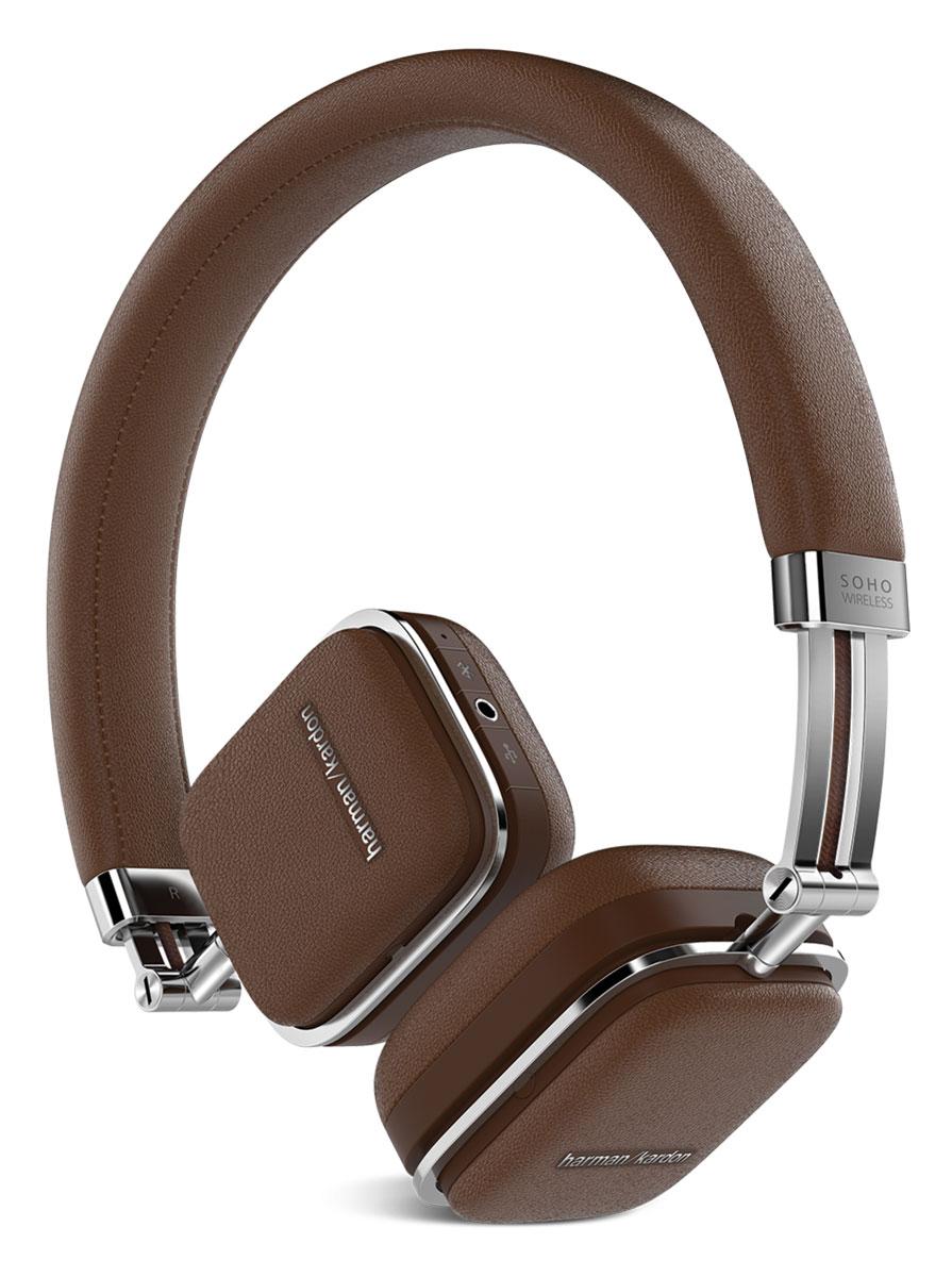 Harman Kardon Soho Wireless, Brown наушникиHKSOHOBTBRNПремиальные складные наушники Harman Kardon Soho Wireless, выполненные из высококачественной стали и отделанные натуральной кожей, обзавелись беспроводной технологией Bluetooth, датчиком NFC и сенсорным управлением, которое расположилось на одной из чашек. Звучание осуществляется через 30-мм неодимовые драйверы, заслужившие доверие меломанов по всему миру.Быстрая связь с мобильными устройствами настраивается путем технологии NFC, потоковая передача данных осуществляется по Bluetooth с помощью задействованных кодеков aptX и AAC. Управлять Harman Kardon Soho Wireless очень просто - достаточно прикоснуться к чашке и отрегулировать громкость музыки, переключиться от одного трека к другому или приостановить воспроизведение.Когда встроенный аккумулятор разряжается, наушники продолжат работу через комплектный кабель, подключаемый через USB, одновременно подзаряжаясь от мобильного устройства. Мгновенный доступ к удаленным функциям так близок. Достаточно прикоснуться к чашке и управлять воспроизведением музыки, громкостью и переключением от одного трека к другому.Использование только лучших материалов в конечном итоге привело к созданию наушников, которые не просто приятно использовать, но приятно даже просто держать в руках. Высококачественная сталь, отделка из натуральной кожи и мягкие амбушюры - вот то, чего вы ждете от любимых наушников. А специальный складной механизм делает Harman Kardon Soho Wireless лучшими спутниками на любой дороге.