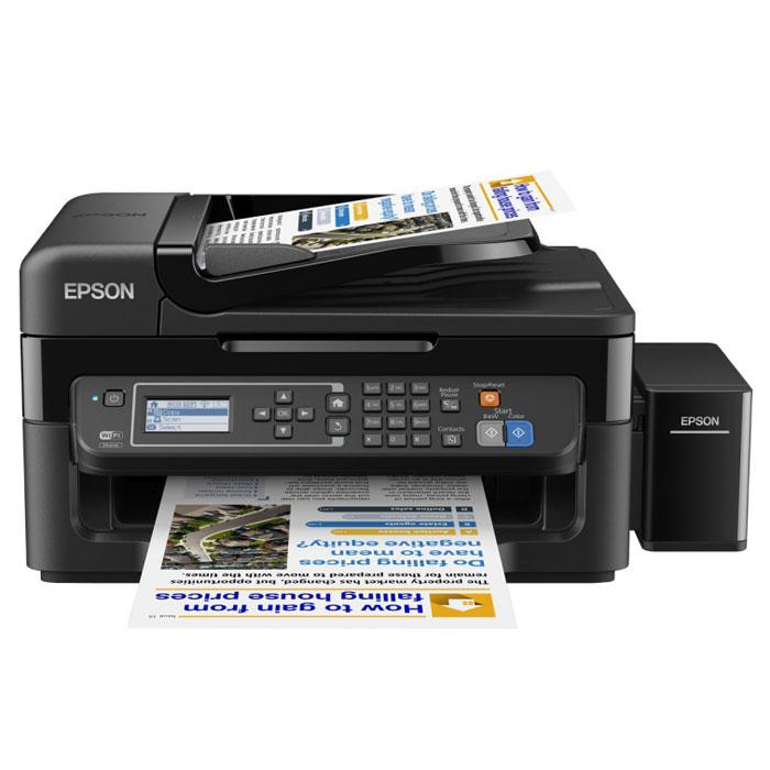Epson L566, Black МФУC11CE53403Epson L566 — это высокоскоростное 4-цветное МФУ с факсом и большими емкостями для чернил вместо картриджей, которое идеально подходит для печати больших объёмов документов с рекордно низкой себестоимостью.Особенность всех устройств серии Фабрика печати Epson – это печать без картриджей. Вместо картриджей в Epson L566 встроены емкости, из которых чернила поступают в печатающую головку через специальные тракты. При этом уникальное строение емкостей и трактов гарантирует высокое качество печати и надежность устройства.Сэкономьте место на рабочем столе и установите Epson L566 в любом удобном месте — с функцией подключения по беспроводной сети Wi-Fi пользователи могут сканировать и отправлять задания на печать из любого уголка квартиры или офиса.Epson Connect - это сервис приложений для беспроводной работы с принтерами и МФУ Epson. Сканируйте и печатайте изображения с мобильных устройств на базе iOS и Android через приложение Epson iPrint. А благодаря поддержке функции Apple – AirPrint можно печатать напрямую с iPod Touch, iPad и iPhone. Более того, пользователи могут печатать документы и фотографии, отправив файл на специальный e-mail адрес принтера через приложение Epson Email Print или Google Cloud Print.При использовании в офисе Epson L566 можно подключить по сети Ethernet одновременно к нескольким ПК. Причём сотрудники смогут не только отправлять задания на печать каждый со своего компьютера, но и сканировать изображения. Несмотря на компактные размеры, МФУ Epson L566 обладает не только функциями принтера-сканера-копира, но и оснащен встроенным цветным факсом. Вы сможете отправлять и получать факсимильные сообщения в цвете или в ч/б в автоматическом режиме или после разговора с абонентом, подключив к устройству телефонную трубку. Удобный двухстрочный ЖК-дисплей делает настройку и работу с факсом максимально простой.Струйный или лазерный принтер: какой лучше? Статья OZON Гид