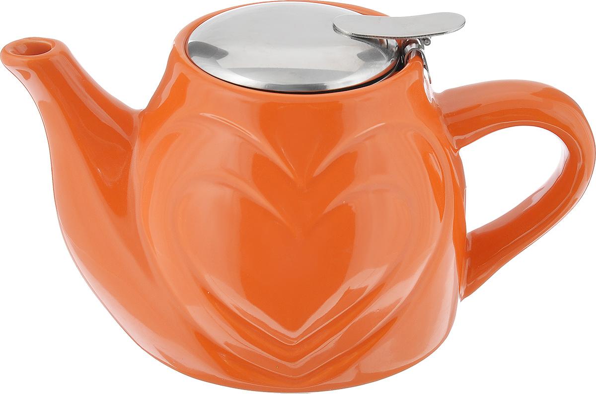 Чайник заварочный Mayer & Boch, цвет: оранжевый, 500 мл23058Заварочный чайник Mayer & Boch изготовлен из высококачественной керамики и нержавеющей стали. Глянцевый корпус обеспечивает легкую очистку. Изделие оснащено ситом.Чайник поможет заварить крепкий ароматный чай и великолепно украсит стол к чаепитию. Диаметр чайника (по верхнему краю): 7,5 см. Высота чайника (без учета крышки): 10,5 см.