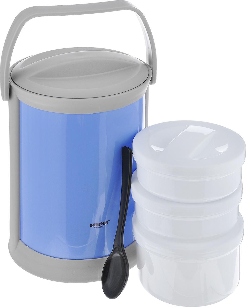 """Термоконтейнер """"Bekker"""" изготовлен из высококачественного пищевого пластика. Предназначен для хранения пищевых продуктов, для этого предусмотрены три круглые емкости с крышками, которые позволяют хранить сразу три разных блюда. Двойные стенки термоконтейнера поддерживают температуру продуктов до 3-4 часов.  Контейнер снабжен удобной ручкой для переноски, а также ложкой, которая крепится в специальное отверстие снаружи корпуса.  Стильный функциональный термос будет незаменим в дороге, на пикнике. Его можно взять с собой куда угодно, и вы всегда сможете наслаждаться горячей домашней пищей.  Объем емкостей: 300 мл, 300 мл, 500 мл.  Размер емкостей: 11 см х 11 см х 4,5 см; 11 см х 11 см х 7 см.  Длина ложки: 16 см.  Размер термоконтейнера: 15 см х 15 см х 24 см."""