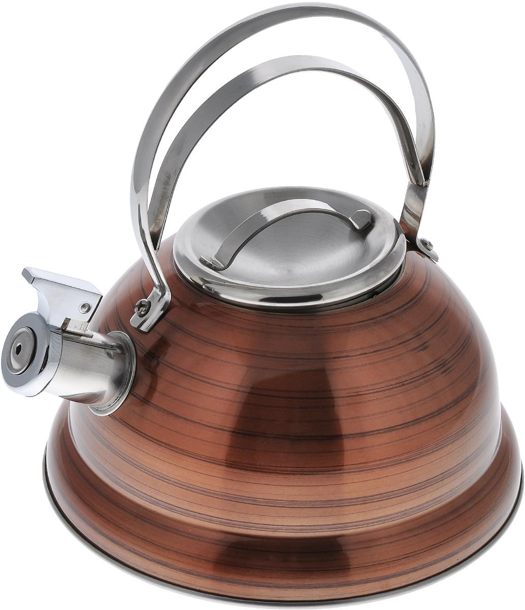 Чайник Bekker De Luxe, со свистком, цвет: оранжевый, 2,5 лBK-S428_оранжевыйЧайник Bekker De Luxe изготовлен из высококачественной нержавеющей стали с цветным зеркальным покрытием в полоску. Капсулированное дно распределяет тепло по всей поверхности, что позволяет чайнику быстро закипать. Крышка и эргономичная фиксированная ручка выполнены из нержавеющей стали. Носик оснащен откидным свистком, который подскажет, когда закипела вода. Подходит для всех типов плит, кроме индукционных. Можно мыть в посудомоечной машине. Диаметр чайника (по верхнему краю): 10 см. Диаметр основания: 22 см. Толщина стенки: 0,4 мм.Высота чайника (без учета ручки и крышки): 11,5 см. Высота чайника (с учетом ручки и крышки): 23,5 см.
