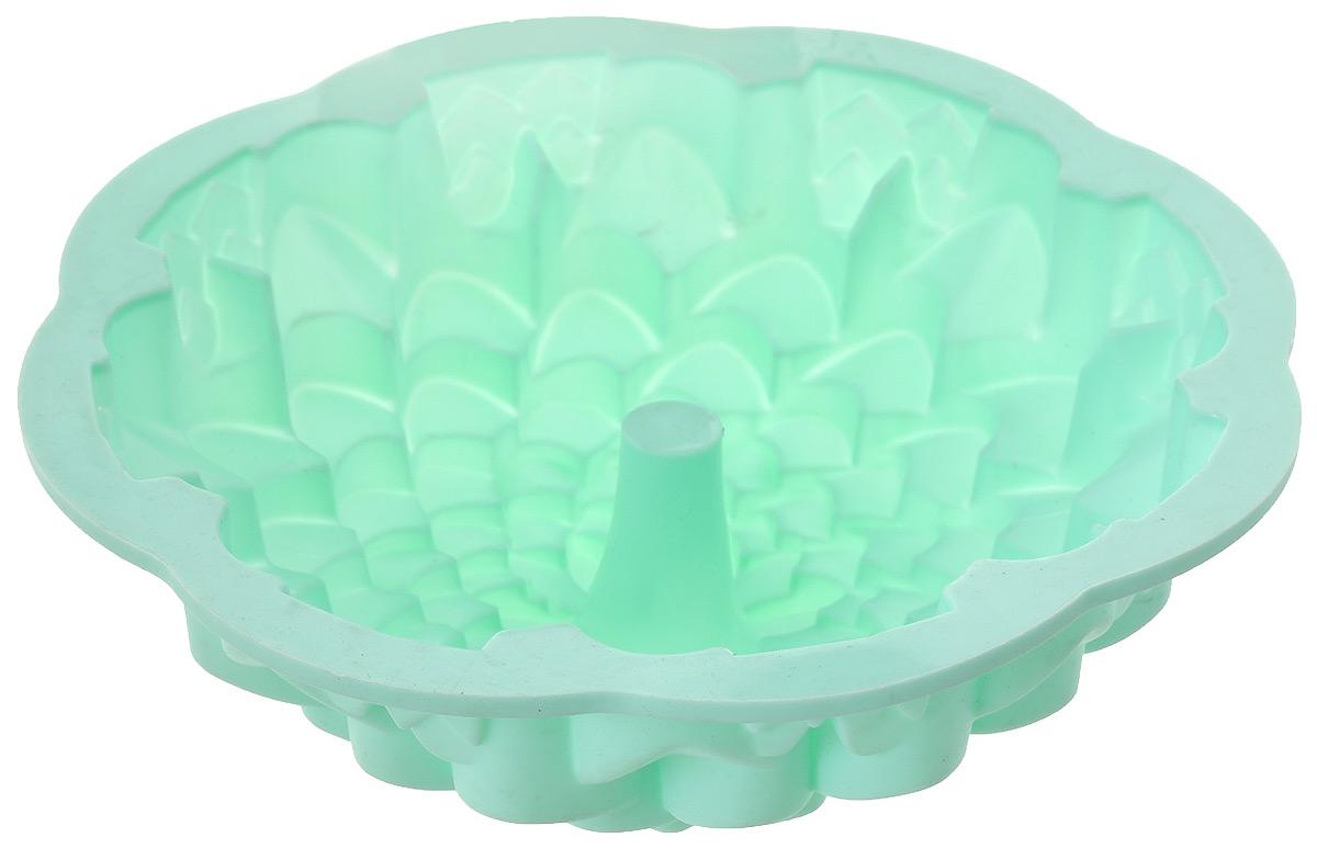 Форма для выпечки кекса Mayer & Boch Хризантема, круглая, цвет: зеленый, диаметр 22 см21975Круглая форма Mayer & Boch Хризантема будет отличным выбором для всех любителей выпечки. Благодаря тому, что форма изготовлена из силикона, готовую выпечку вынимать легко и просто. Стенки формы оснащены рельефной поверхностью. Форма прекрасно подходит для выпечки кексов. С такой формой вы всегда сможете порадовать своих близких оригинальной выпечкой. Материал изделия устойчив к фруктовым кислотам, может быть использован в духовках, микроволновых печах, холодильниках (выдерживает температуру от -40°C до 230°C). Антипригарные свойства материала позволяют готовить без использования масла.Можно мыть в посудомоечной машине. Диаметр (по верхнему краю): 22 см.Высота стенок: 8 см.