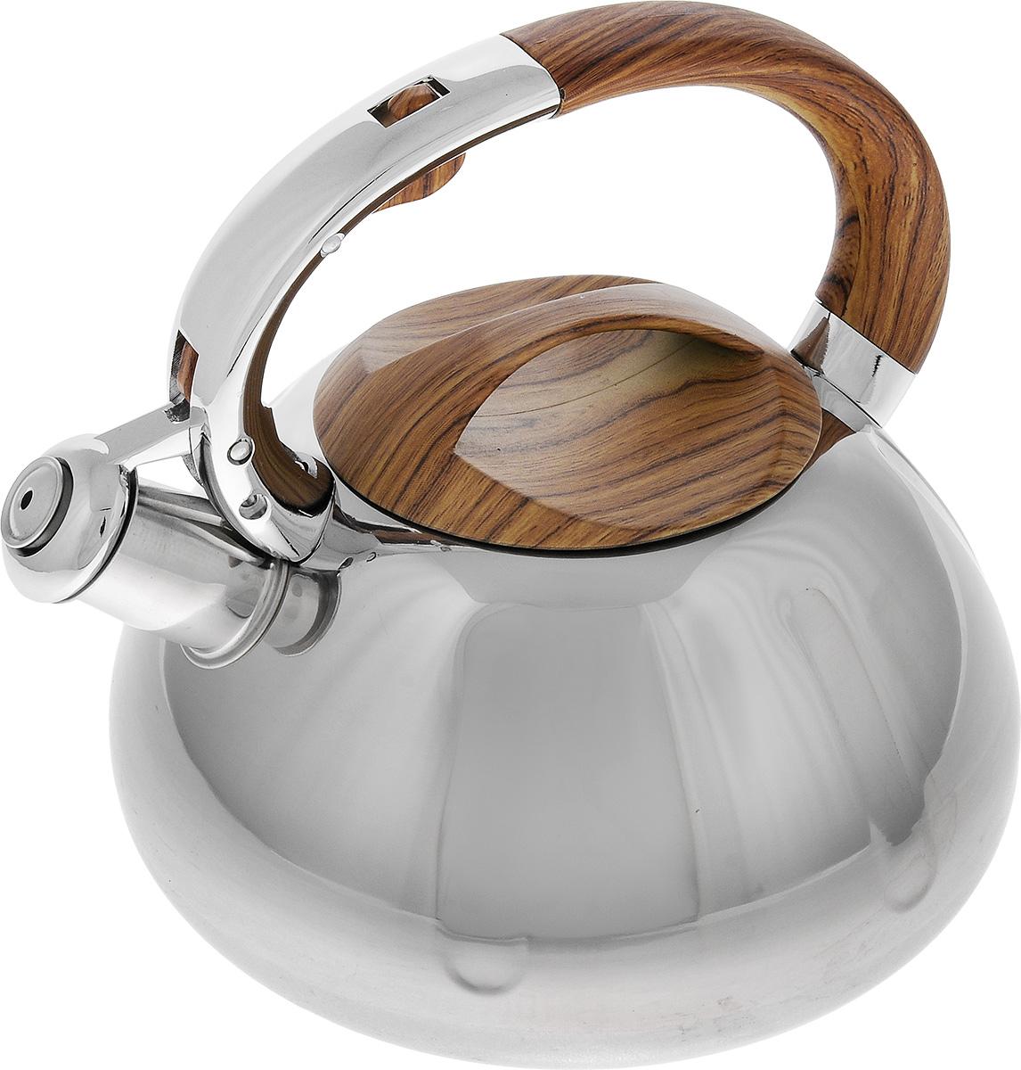 Чайник Mayer & Boch, со свистком, 2,6 л. 2241422414Чайник Mayer & Boch выполнен из высококачественной нержавеющей стали, что делает его весьма гигиеничным и устойчивым к износу при длительном использовании. Капсулированное дно с прослойкой из алюминия обеспечивает наилучшее распределение тепла. Носик чайника оснащен насадкой-свистком, что позволит вам контролировать процесс подогрева или кипячения воды. Фиксированная ручка, изготовленная из бакелита в цвет дерева, дает дополнительное удобство при разлитии напитка. Поверхность чайника гладкая, что облегчает уход за ним. Эстетичный и функциональный, с эксклюзивным дизайном, чайник будет оригинально смотреться в любом интерьере.Подходит для всех типов плит, включая индукционные. Можно мыть в посудомоечной машине.Высота чайника (без учета ручки и крышки): 11,5 см.Высота чайника (с учетом ручки и крышки): 21 см.Диаметр чайника (по верхнему краю): 11,5 см.