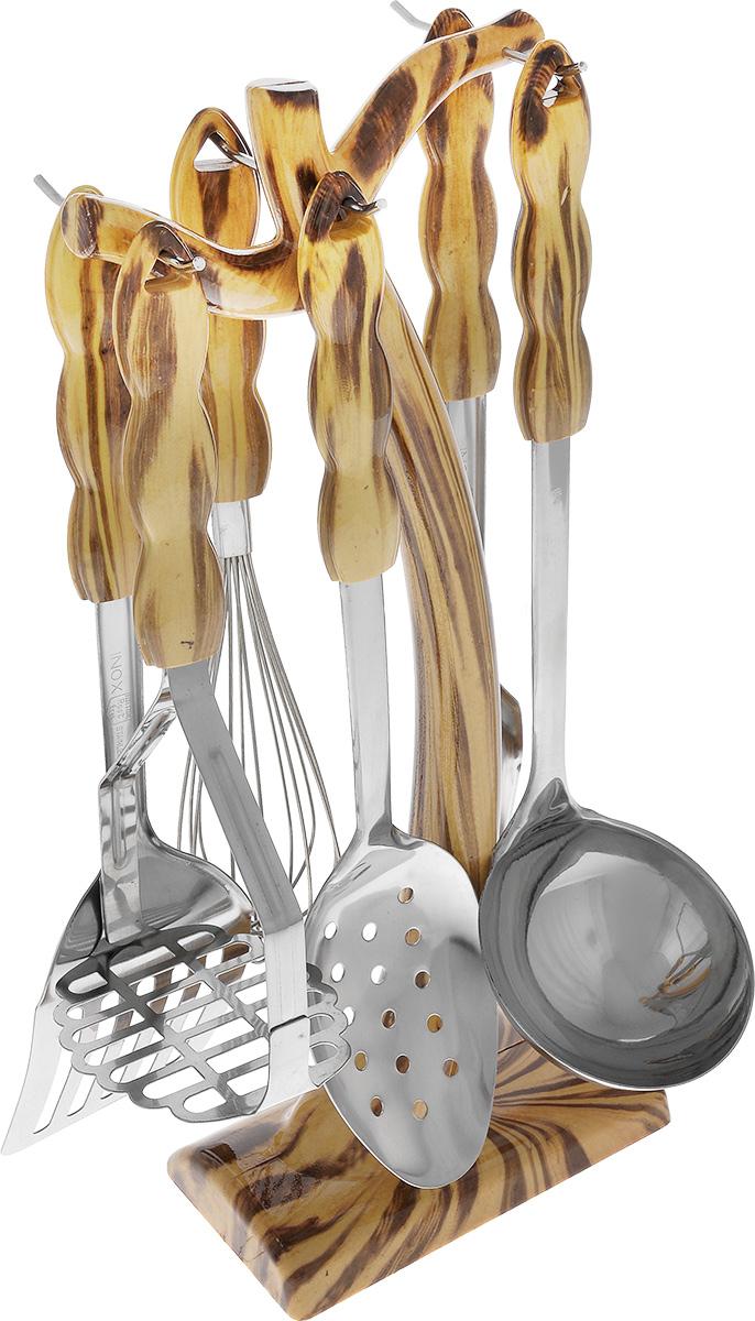 Набор кухонных принадлежностей Mayer & Boch, 7 предметов. 36883688Набор кухонных принадлежностей Mayer & Boch состоит из половника, венчика, пресса для картофеля, лопатки, вилки для мяса, шумовки и подставки. Предметы набора выполнены из нержавеющей стали и пластика. В комплектацию вошли самые необходимые приборы, обеспечивающие высокий функционал набора.Размер подставки: 14,5 см х 8,3 см х 38 см.Длина половника: 32,5 см.Размер рабочей части половника: 9 см х 9 см.Длина венчика: 30,5 см.Размер рабочей части венчика: 13 см х 6 см.Длина пресса для картофеля: 25 см.Размер рабочей части пресса для картофеля: 9 см х 7,5 см.Длина лопатки: 33,5 см.Размер рабочей части лопатки: 9,5 см х8 см.Длина вилки для мяса: 33,5 см.Размер рабочей части вилки для мяса: 3,5 см х 8 см.Длина шумовки: 32,5см.Размер рабочей части шумовки: 7 см х 10,5 см.