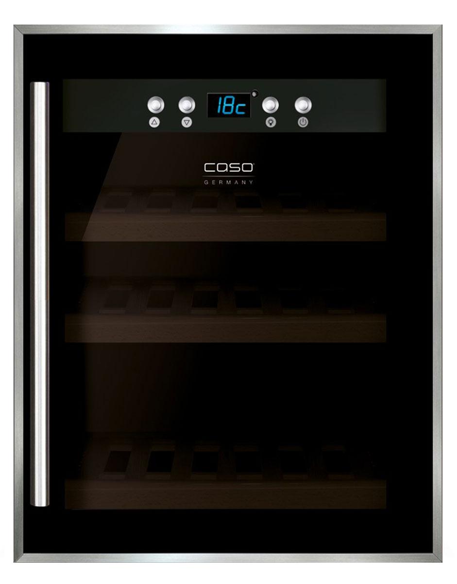 CASO WineSafe 12, Black винный шкафWineSafe 12 BlackCASO WineSafe 12 - это винный компрессорный холодильник класса А на 12 бутылок с температурной зоной 5-22°С. Среди особенностей данной модели можно выделить низкую вибрацию, голубую LED-подсветку и активныйвентилятор. Внутри шкафа располагаются 3 деревянные полки. Стеклянная дверца с UV-фильтром в раме изготовлена из нержавеющей стали.
