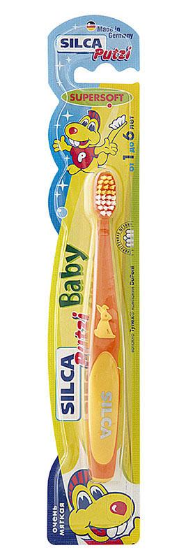 Silca Putzi Зубная щетка Baby от 1 до 6 лет цвет оранжевый желтый164Зубная щетка Silca Putzi Baby предназначена для детей от 1 года до 6 лет. Маленькая головка с очень мягкой щетиной и широкой мягкой окантовкой обеспечивает особо бережный уход за молочными зубами. Абсолютно закругленная щетина не травмирует чувствительные десны ребенка. При производстве щетины используется высококачественное волокно Tynex компании DuPont. Удобная двухкомпонентная ручка с нескользящим покрытием, упором для большого пальца и мягким закругленным кончиком украшена фигуркой кролика.