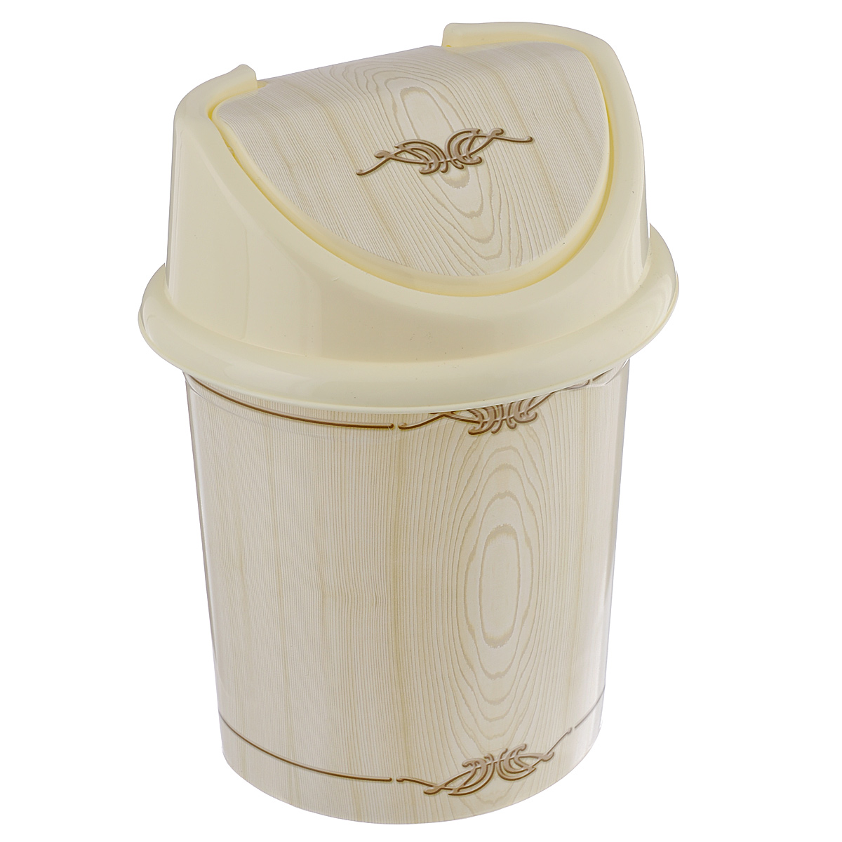 """Контейнер для мусора Violet """"Беленый дуб"""", цвет: слоновая кость, коричневый, 8 л"""