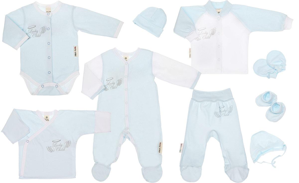 Подарочный комплект для новорожденного Lucky Child Ангелочки, цвет: голубой, 9 предметов. 17-1000. Размер 56/6217-1000Комплект для новорожденного Lucky Child Ангелочки - это замечательный подарок, который прекрасно подойдет для младенца. Комплект состоит из комбинезона, боди, распашонки-кимоно, кофточки, ползунков, шапочки, чепчика, рукавичек и пинеток. Изготовленный из натурального хлопка, он необычайно мягкий и приятный на ощупь, не сковывает движения ребенка и позволяет коже дышать, не раздражает даже самую нежную и чувствительную кожу ребенка, обеспечивая ему наибольший комфорт.Комбинезон с длинными рукавами, V-образным вырезом горловины и закрытыми ножками имеет застежки-кнопки от горловины до пяточек, которые помогают легко переодеть младенца или сменить подгузник. Оформлено изделие термоаппликацией с названием бренда и украшено на спинке очаровательными декоративными крылышками. Удобное боди с длинными рукавами и круглым вырезом горловины имеет удобные застежки-кнопки по всей длине, а также кнопки на ластовице, которые помогают легко переодеть младенца и сменить подгузник. Оформлено изделие термоаппликацией с названием бренда и украшено на спинке декоративными крылышками.Распашонка с V-образным вырезом горловины и длинными рукавами-кимоно имеет застежки-кнопки по принципу кимоно, благодаря которым, модель можно полностью расстегнуть. На рукавах предцсмотрены рукавички, благодаря котрым ребенок не поцарапает себя. Ручки могут быть как открытыми, так и закрытыми. Швы изделия выполнены наружу. Оформлена модель крупной термоаппликацией с названием бренда.Кофточка с длинными рукавами-реглан и круглым вырезом горловины спереди застегивается на металлические кнопки, что помогает с легкостью переодеть ребенка. Горловина дополнена мягкой трикотажной резинкой. Рукава имеют широкие эластичные манжеты. Оформлено изделие термоаппликацией с названием бренда и украшено на спинке декоративными крылышками. Ползунки, благодаря мягкому и широкому поясу, не сдавливают животик мл