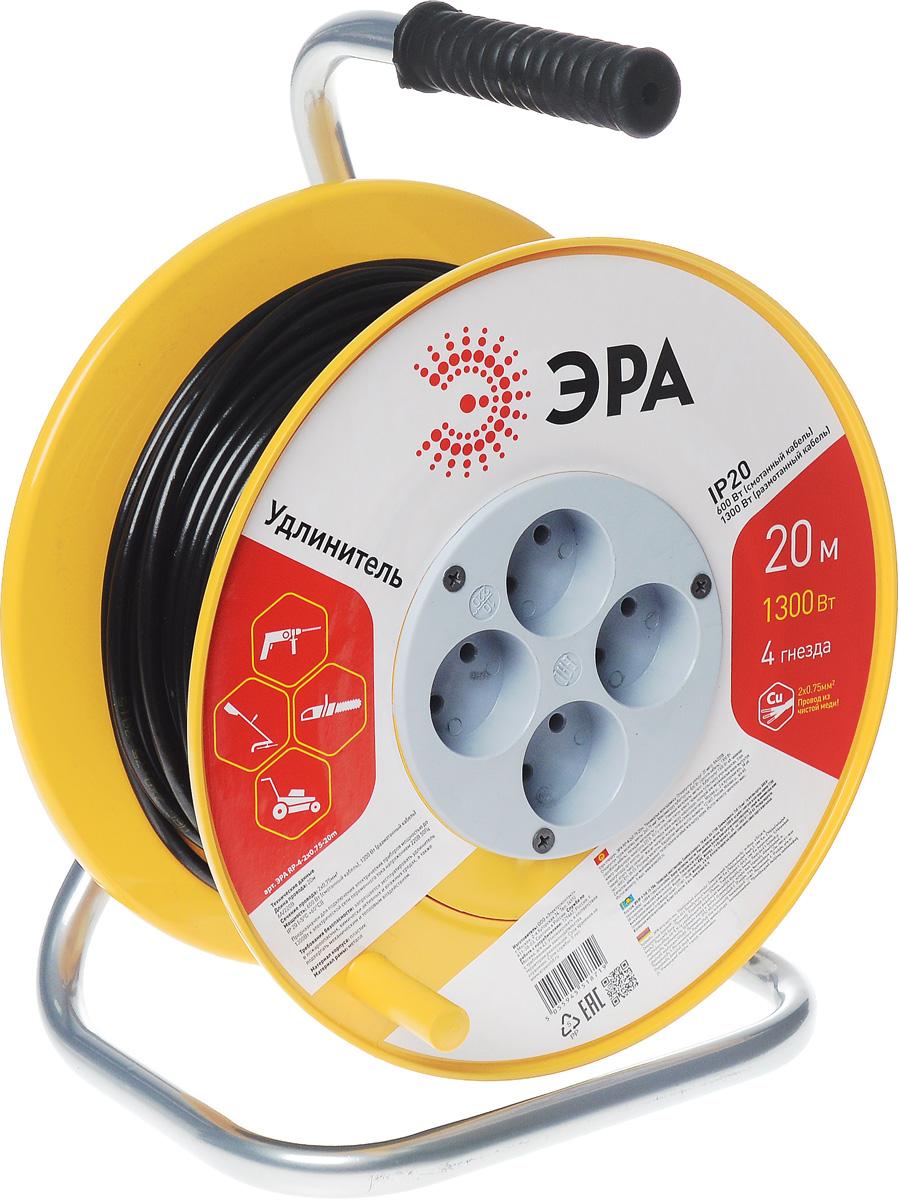 Удлинитель силовой ЭРА RP-4-2x0.75-20m, на катушке, 4 гнезда, 20 мRP-4-2x0.75-20mСиловой удлинитель ЭРА RP-4-2x0.75-20m предназначен для подключения электрических приборов мощностью до 1300 Вт к электрической сети переменного тока напряжением 220В 50Гц. Провод выполнен из чистой меди.Незаменим при строительных и ремонтных работах, когда приборы, требующие электропитание, расположены на удаленном расстояние от розетки до 20 метров. Можно использовать как дома, так и в гараже, на приусадебных участках.Технические характеристики:Сечение жилы провода: 0,75 мм2.Номинальное напряжение: 220В.Максимальное напряжение: 250В.Максимальная нагрузка с размотанным шнуром: 1300 Вт.Максимальная нагрузка со смотанным шнуром: 650 Вт.Наличие заземляющего контакта: нет.Температура эксплуатации: от +5°С до +40°С.Относительная влажность: не более 85%.Срок службы: 5 лет.Материал корпуса: полипропилен.Материал блока розеток: поликарбонат.Материал рамы: металл.