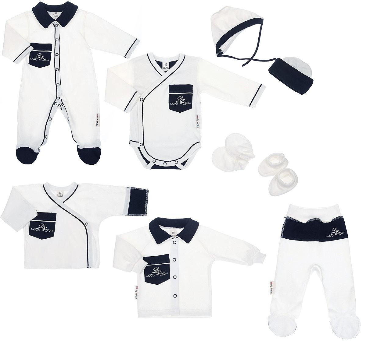 Подарочный комплект для новорожденного Lucky Child Классик, 9 предметов, цвет: молочный, темно-синий. 20-1000. Размер 62/6820-1000Комплект для новорожденного Lucky Child Классик - это замечательный подарок, который прекрасно подойдет для первых дней жизни младенца. Комплект состоит из комбинезона, боди-кимоно, распашонки-кимоно, кофточки, ползунков, шапочки, чепчика, рукавичек и пинеток. Изготовленный из натурального хлопка, он необычайно мягкий и приятный на ощупь, не сковывает движения ребенка и позволяет коже дышать, не раздражает даже самую нежную и чувствительную кожу ребенка, обеспечивая ему наибольший комфорт.Комбинезон с длинными рукавами, отложным воротником контрастного цвета и закрытыми ножками имеет застежки-кнопки от горловины до пяточек, которые помогают легко переодеть младенца или сменить подгузник. На груди изделие дополнено накладным кармашком, украшенным вышивкой. Швы выполнены наружу.Удобное боди-кимоно с длинными рукавами и V-образным вырезом горловины имеет удобные застежки-кнопки по принципу кимоно, а также кнопки на ластовице, которые помогают легко переодеть младенца и сменить подгузник. На груди изделие дополнено накладным кармашком, украшенным вышивкой. Швы выполнены наружу. Распашонка-кимоно с V-образным вырезом горловины и длинными рукавами-кимоно имеет застежки-кнопки по принципу кимоно, благодаря которым, модель можно полностью расстегнуть. А благодаря рукавичкам ребенок не поцарапает себя. Ручки могут быть как открытыми, так и закрытыми. На груди изделие дополнено накладным кармашком, украшенным вышивкой. Швы выполнены наружу.Кофточка с длинными рукавами-реглан и отложным воротником контрастного цвета спереди застегивается на металлические кнопки, что помогает с легкостью переодеть ребенка. Рукава имеют широкие эластичные манжеты. На груди изделие дополнено накладным кармашком, украшенным вышивкой. Ползунки, благодаря мягкому и широкому поясу, не сдавливают животик младенца и не сползают. Они идеально подходят для ношения с подгузнико