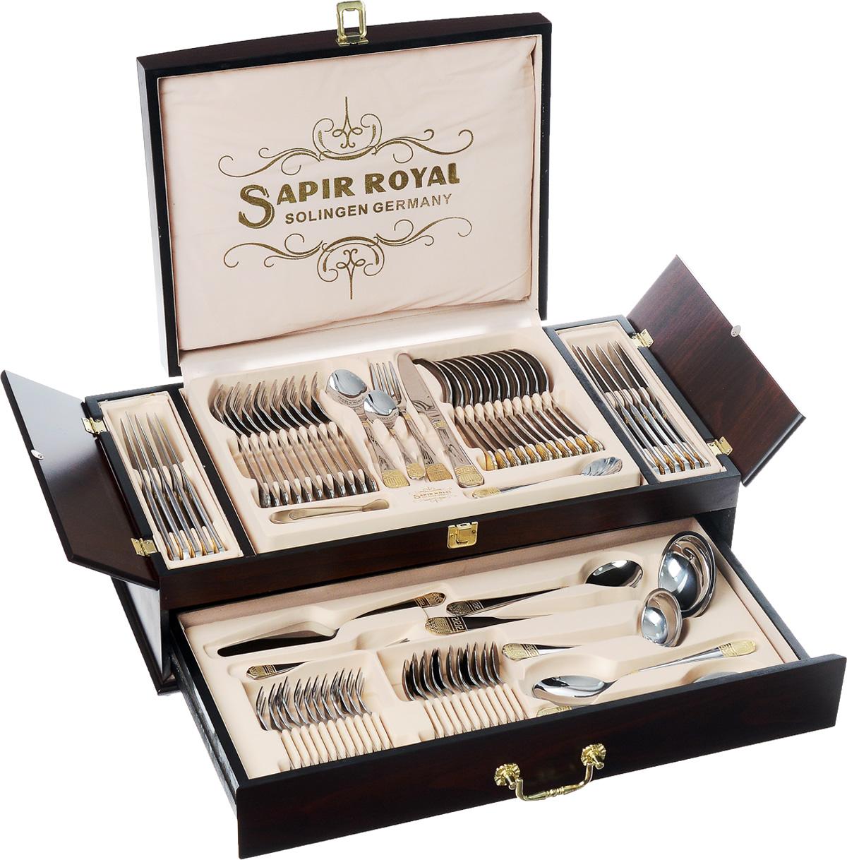 Набор столовых приборов Sapir Royal, 72 предмета100-2_(1005)Красивые столовые наборы являются важной составляющей каждого дома, красота и эстетичность столовых приборов удовлетворит запросы самых взыскательных покупателей. Несомненно, достойное место на любой кухне займет набор столовых приборов Sapir Royal из 72 предметов на 12 персон. Столовые приборы изготавливается из высококачественной нержавеющей стали с покрытием из золота 24 карат.Одним из важных этапов изготовления столовых приборов является полировка, от ее качества зависит гигиеничность предметов. Стильный, лаконичный дизайн и отличное качество столовых приборов Sapir Royal делают желанной покупкой для любого, даже самого пристрастного, клиента. Набор Sapir Royal - стильный и дорогой подарок, который можно преподнести на свадьбу, на новоселье или к юбилею.Можно мыть в посудомоечной машине.Состав набора:12 столовых ножей.12 столовых ложек.12 столовых вилок.12 чайных ложек.12 десертных вилок.Лопатка для торта.Половник.Ложка для соуса.2 ложки для картофеля.2 ложки для сервировки.Щипцы для льда и сахара.Ложка для мороженного.Ложка для сливок.2 вилки для мяса.Кейс.Длина столовых ножей: 23,5 см.Длина столовых ложек: 20,5 см.Длина столовых вилок: 20,5 см.Длина чайных ложек: 14,5 см.Длина десертных вилок: 14,7 см.Длина лопатки для торта: 21 см.Длина половника: 26 см.Длина ложки для соуса: 16,5 см.Длина ложек для картофеля: 19,7 см.Длина ложек для сервировки: 20,5 см.Длина щипцов для льда и сахара: 11 см.Длина ложки для сливок: 14,3 см.Длина вилок для мяса: 15 см.Размер кейса: 55 см х 30 см х 18 см.