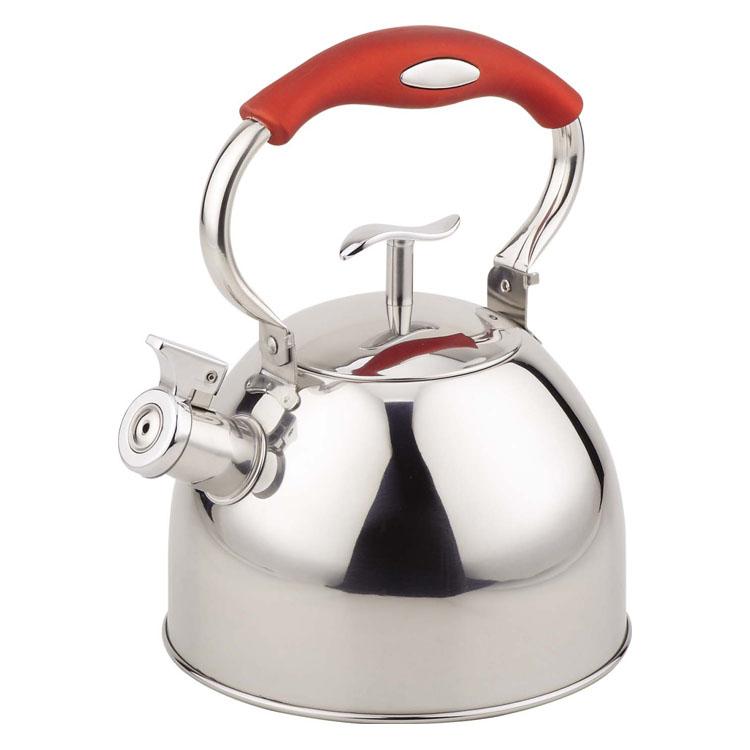 Чайник Mayer & Boch, со свистком, цвет: серебристый, красный, 3 л. 41274127Чайник Mayer & Boch выполнен из высококачественной нержавеющей стали, что делает его весьма гигиеничным и устойчивым к износу при длительном использовании. Капсулированное дно обеспечивает наилучшее распределение тепла. Носик чайника оснащен насадкой-свистком, что позволит вам контролировать процесс подогрева или кипячения воды. Фиксированная ручка, изготовленная из нержавеющей стали с силиконовым покрытием, делает использование чайника очень удобным и безопасным. Поверхность чайника гладкая, что облегчает уход за ним. Эстетичный и функциональный, с эксклюзивным дизайном, чайник будет оригинально смотреться в любом интерьере.Подходит для электрических, газовых, стеклокерамических и галогеновых плит. Не подходит для индукционных плит. Можно мыть в посудомоечной машине.Высота чайника (без учета ручки и крышки): 14 см.Высота чайника (с учетом ручки и крышки): 26 см.Диаметр чайника (по верхнему краю): 10 см.