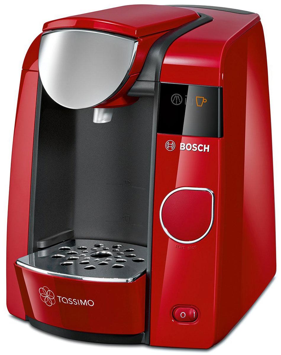 Bosch Tassimo Joy TAS4503, Red капсульная кофемашинаTAS4503Bosch Tassimo Joy TAS4503 - это стильная деталь интерьера для любого дома. Но она прекрасна не только снаружи. За изящным и элегантным внешним видом скрывается современная технология Intellibrew, делающая каждую чашку напитка идеальной.В дополнение к стандартным характеристикам кофемашин Tassimo, Bosch Tassimo Joy TAS4503 предлагает передовую систему фильтрации воды и настройки для регулирования крепости, которые обеспечивают максимальное удовольствие от напитков. Кофемашина Tassimo считывает штрих-код, нанесенный на каждую капсулу (Т-диск), и автоматически определяет точную информацию для приготовления идеального напитка: количество воды, время заваривания, температура.Несмотря на компактный размер, Bosch Tassimo Joy TAS4503 поражает размером своего резервуара для воды. Теперь нет необходимости доливать воду после каждой чашки напитка. Если вы обожаете хороший кофе, ароматный чай или лучший горячий шоколад, если вы цените красоту и любите пробовать новые вкусы, значит, Bosch Tassimo Joy TAS4503 создана именно для вас.