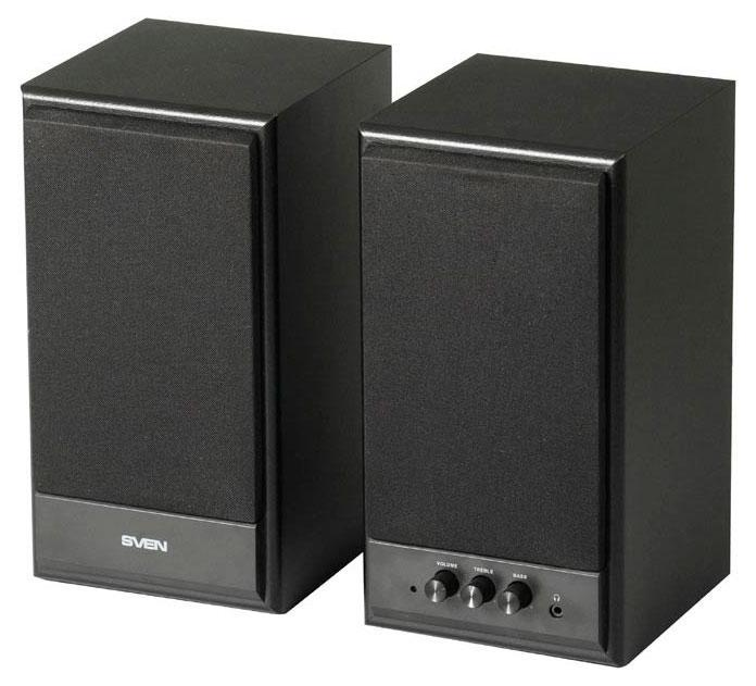 Sven SPS-702, Black акустическая система 2.0SV-0120702BLSVEN SPS-702 – представитель 2.0 линейки SVEN. Эта модель привлекательна с эстетической точки зрения – классическая внешность располагает к себе и вызывает легкий трепет в предвкушении ее голоса. Современные технологии полностью оправдывают это впечатление, окружая пользователя громким мощным звуком, и, что самое приятное – за очень невысокую цену!Регуляторы уровня громкости и тембра НЧ/ВЧ расположены на передней панели корпуса, также как и выход на наушники – таким образом, все настройки находятся под рукой, гарантируя полный комфорт в использовании. На задней стенке расположены разъемы для подключения различных источников аудиосигнала: ПК, DVD/CD/MP3-плееров.