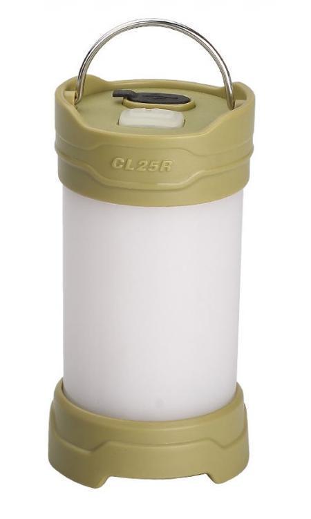 Фонарь кемпинговый Fenix CL25R оливковыйCL25RGФонарь Fenix CL25R предназначен для освещения территории кемпинга. Поэтому он производит мягкий, не ослепляющий свет, который свободно распространяется сразу во все стороны от фонаря. Максимально возможная яркости - 350 люмен. В таком режиме освещается пространство диаметром 25 м. Однако для того, чтобы пользователи могли подобрать оптимальный вариант освещения, Fenix CL25R работает еще в трех режимах освещения белым светом - с яркостью 200 люмен, 50 люмен и 0.8 люмен. Последний режим называется Moonlight и подходит для подсвечивания внутреннего пространства палатки. В дополнение к перечисленным режимам, Fenix CL25R может предложить еще два, в работе которых задействованы светодиоды красного цвета. Яркость освещения в каждом из них составляет 1,5 люмена. Первый режим дает постоянный красный свет и также подходит в качестве внутреннего освещения палатки, а второй - мигающий и предназначенный для подачи сигналов.Время работы фонаря до замены элемента питания зависит как от яркости, с которой он светит, так и от выбора батареи. Производители определили время работы в каждом режиме, используя качественные литиевые батарейки и фирменный аккумулятор 18650 Fenix емкостью 2300 мАч. Были получены такие результаты:Turbo: CR123A - 2 ч 5 мин, 18650 - 2 ч 15 мин; High: CR123A - 4 ч 10 мин, 18650 - 5 ч; Mid: CR123A - 18 ч 50 мин, 18650 - 23 ч 45 мин; Low: CR123A - 500 ч, 18650 - 600 ч; Red: CR123A - 42 ч, 18650 - 44 ч. Для мигающего режима замеры работоспособности не производились, поскольку время работы в нем существенно превышает остальные результаты.О том, что заряд достиг критически низкой отметки, предупредит индикатор фонаря. В этом случае необходимо заменить батарею либо подключить фонарь с аккумулятором к зарядке через порт micro-USB.Для того, чтобы использовать фонарь Fenix CL25R было максимально удобно, производители снабдили его несколькими вариантами крепления. Прежде всего, его можно поставить на стол, камень или другую п