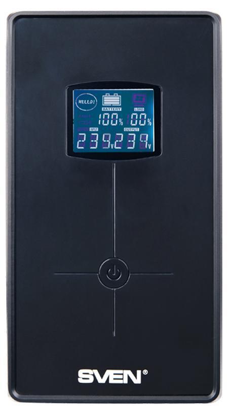 Sven Pro+ 1000 источник бесперебойного питанияSV-00691Линейно-интерактивные источники бесперебойного питания SVEN Pro+ 1000 предназначены для защиты персональных компьютеров, рабочих станций, а также серверов, оснащенных импульсными блоками питания. Благодаря встроенной батарее ИБП способен работать даже при полном пропадании электроснабжения, что позволяет пользователю сохранить данные и корректно завершить работу операционной системы. Встроенный стабилизатор сетевого напряжения позволяет понижать/повышать сетевое напряжение без перехода в режим работы от батареи и обеспечивать возможность длительной непрерывной работы. Эта особенность важна для сетей с нестабильным напряжением.ИБП Pro+ 1000 снабжен функцией холодный старт, позволяющей принудительно включить ИБП при отсутствии сетевого напряжения. Встроенный порт USB позволяет производить мониторинг сети с компьютера, а также производить корректное завершение работы в автоматическом режиме. Кроме того, ИБП оснащен многофункциональным ЖК-дисплеем, который отображает состояние сети, уровень нагрузки и степень разряда батареи.Форма выходного напряжения: апроксимированная синусоидаAVR (авторегулятор напряжения)Коммуникационный порт: USB, RJ-11Типовое время переключения: 10 мс Напряжение батарей: 12 ВЕмкость батареи: 7 АчЭффективность: > 80%