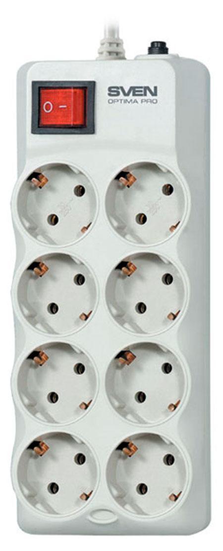 Sven Optima Pro 8 розеток, Gray сетевой фильтр (1,8 м)SV-0231018GR Pro