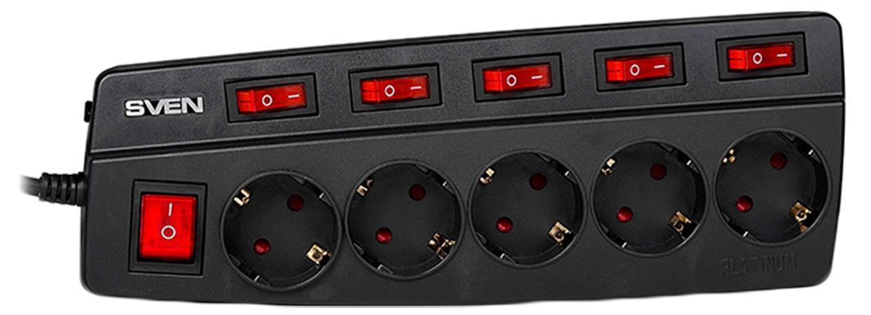Sven Platinum 5 розеток, Black сетевой фильтр (5 м) кабель sven oo474 black