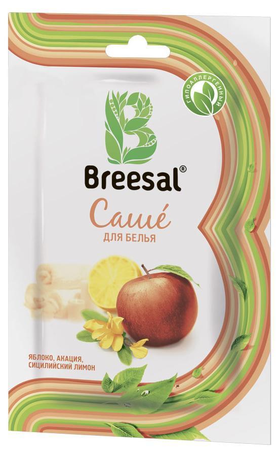 Breesal Ароматическое саше для белья Атласный восторг32970439Саше ароматическое Breesal Атласный восторг с ароматом яблока, акациии сицилийского лимона.Восхитительные природные ароматы для Вашего дома.Состав: ароматическая композиция (в том числе терпены натурального эфирного масла апельсина, бутилфенил метилпропиональ, цитраль, цитронеллол, гексилциннамаль, лимонен, линалоол); природный минерал тальк.Длительность действия: до 30 дней.Способ применения: Откройте упаковку. Достаньте бумажный пакетик сароматическим саше. Внимание бумажный пакетик с ароматическим саше невскрывать. Положите саше в ящик для белья, комод или повести в платянойшкаф или автомобиль при помощи держателя.Меры предосторожности: Хранить в местах, недоступных для детей.Использовать по назначению и согласно способу применения.