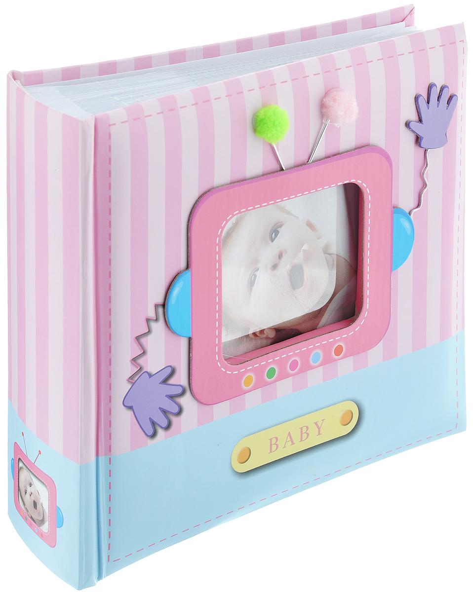 """Фотоальбом Image Art """"Baby"""" поможет красиво оформить ваши самые интересные фотографии.  Обложка выполнена из толстого картона. С лицевой стороны обложки имеется квадратное окошко для вашей самой любимой фотографии (размером 6,5 см х 5,5 см). Внутри содержится блок из 50 листов с фиксаторами-окошками из полипропилена. Альбом рассчитан на 100 фотографий формата 10 см х 15 см (по 1 фотографии на странице). В альбоме также предусмотрено поле для записей. Переплет - книжный.  Нам всегда так приятно вспоминать о самых счастливых моментах жизни, запечатленных на фотографиях. Поэтому фотоальбом является универсальным подарком к любому празднику.  Количество листов: 50."""