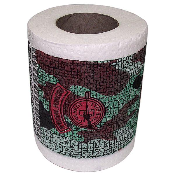 Бумага туалетная Эврика Спецназ89879Качественная двухслойная туалетная бумага Эврика Спецназ с камуфляжным рисунком - оригинальный сувенир для людей, ценящих чувство юмора. Рулон имеет стандартный размер и упакован в пленку.Ширина рулона: 10 см.