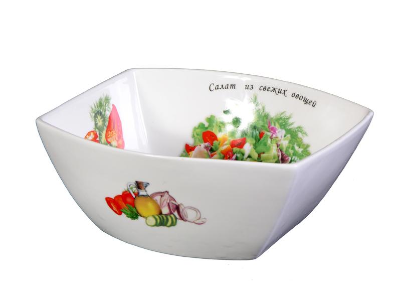 Салатник LarangE Салат из свежих овощей, цвет: белый, зеленый, красный, 18,5 см х 17,7 см х 8 см соусник larange барбекю цвет белый