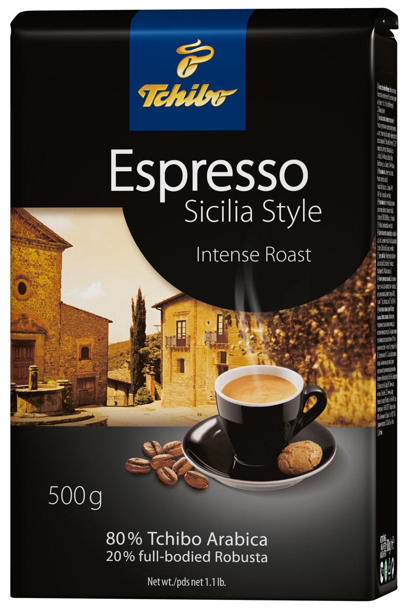 Tchibo Espresso Sicilia Style кофе в зернах, 500 г456716Tchibo Espresso Sicilia Style - натуральный кофе в зернах. В нем содержаться лучшие зерна Арабики и высококачественные зерна сорта Робусты, обжаренные специалистами Tchibo особым образом и смешанные в традиции южной Италии. Поэтому кофе имеет выраженный сицилийский характер и крепкий терпкий вкус.