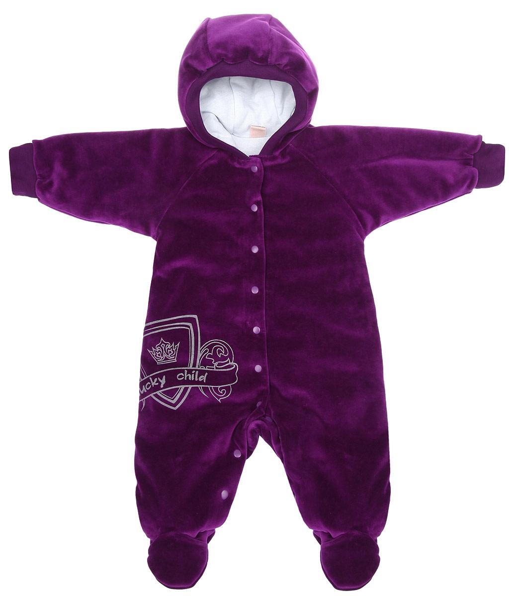 Комбинезон детский Lucky Child, цвет: фиолетовый, белый. 5-1. Размер 56/625-1Детский комбинезон Lucky Child - очень удобный и практичный вид одежды для малышей. Комбинезон выполнен из велюра на подкладке из натурального хлопка, благодаря чему он необычайно мягкий и приятный на ощупь, не раздражают нежную кожу ребенка и хорошо вентилируются, а эластичные швы приятны телу младенца и не препятствуют его движениям. В качестве утеплителя используется синтепон. Комбинезон с капюшоном, длинными рукавами-реглан и закрытыми ножками по центру застегивается на металлические застежки-кнопки, также имеются застежки-кнопки на ластовице, что помогает с легкостью переодеть младенца или сменить подгузник. Капюшон по краю дополнен широкой трикотажной резинкой. Рукава понизу дополнены широкими эластичными манжетами, которые мягко обхватывают запястья. Спереди изделие оформлено оригинальным принтом в виде логотипа бренда. С детским комбинезоном Lucky Child спинка и ножки вашего малыша всегда будут в тепле. Комбинезон полностью соответствует особенностям жизни младенца в ранний период, не стесняя и не ограничивая его в движениях!