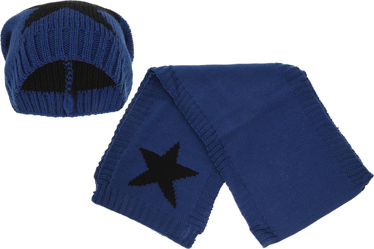 Комплект женский Venera: шапка, шарф, цвет: синий, черный. 9902541-11. Размер универсальный9902541-11Стильный комплект Venera, состоящий и шапки и шарфа, гармонично дополнит ваш образ в холодную погоду. Сдержанная расцветка и современный дизайн сделают образ еще более эффектным. Выполненный из 100% шерсти, комплект надежно защитит вас от знойного ветра и холода. Шапка простой вязки, легко облегает голову, не жмет и не колется; шарф широкий и длинный, скрадывается в несколько слоев.Этот модный комплект гармонично дополнит образ современной женщины, следящей за своим имиджем и стремящейся всегда оставаться стильной и элегантной.